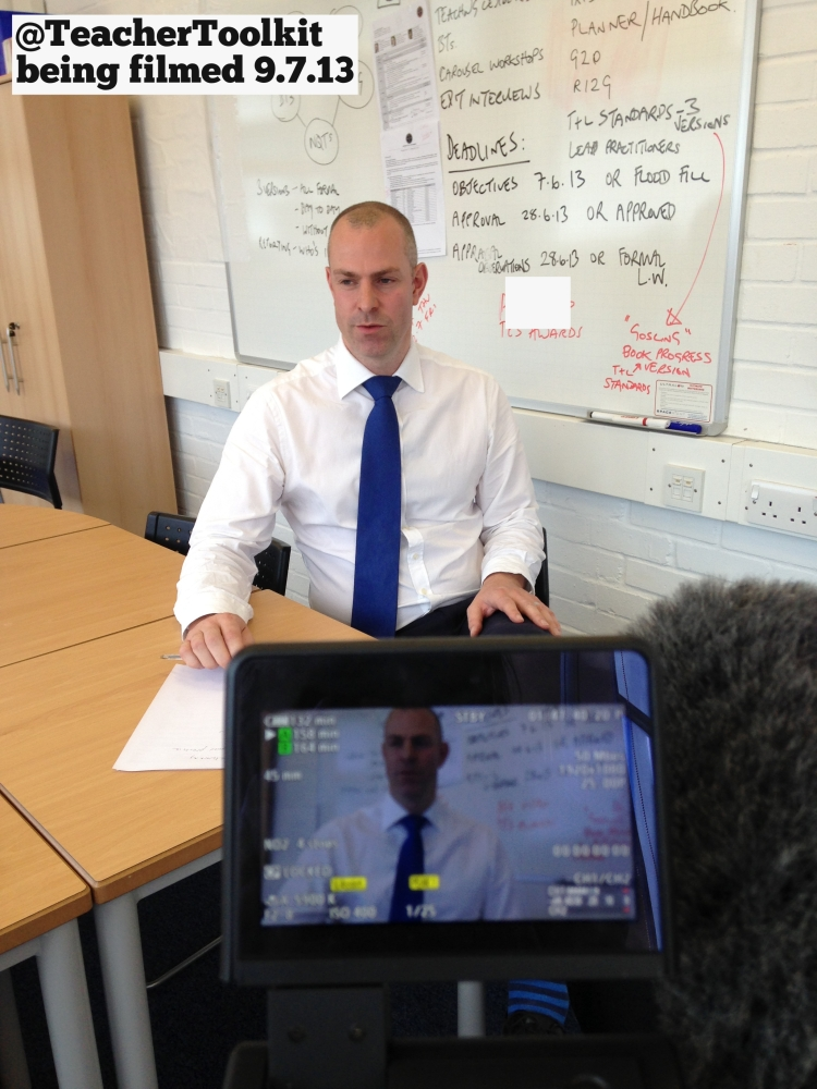 #SLTchat - being filmed by the DfE - July 2013