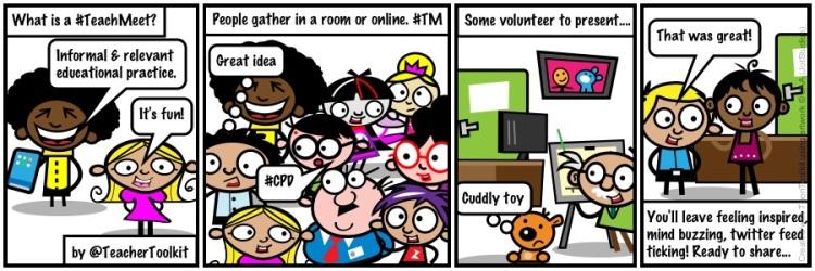What is a TeachMeet? in cartoon, by @TeacherToolkit