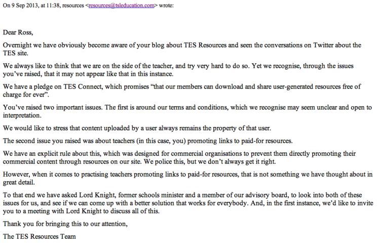 TES response on 9.9.13