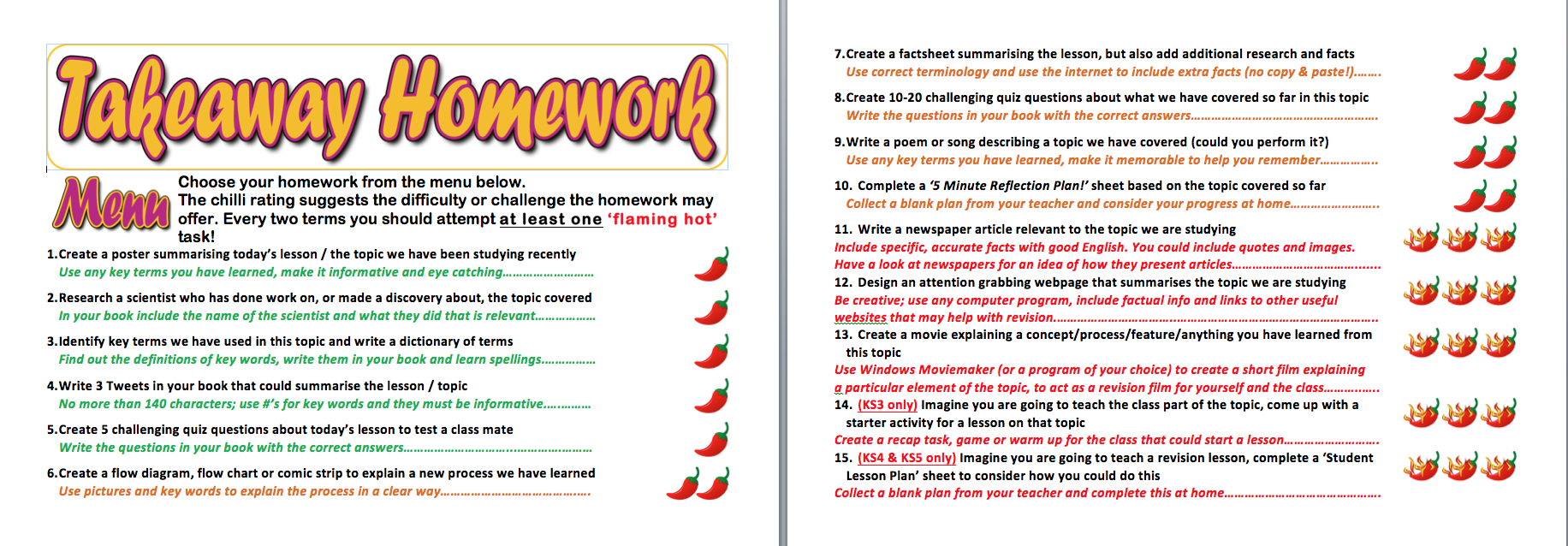 Year 6 homework tasks