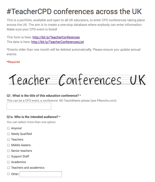 #TeacherCPD conferences across the UK
