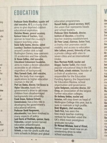 Debrett's 500 The Sunday Times Award Nomination Newspaper Ross Morrison McGill @TeacherToolkit Clipping