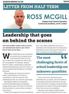 Schools Week @SchoolsWeek Leadership article publication