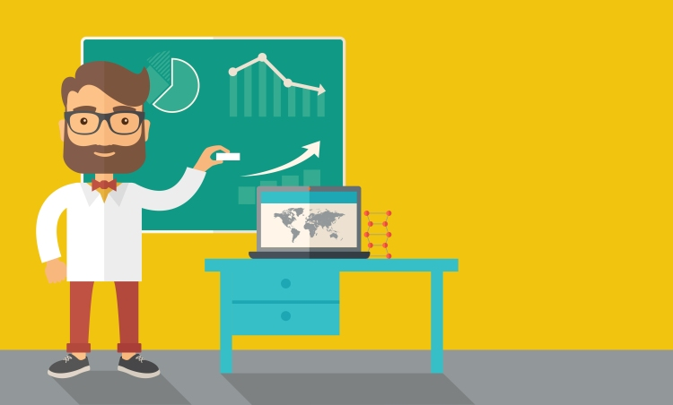 shutterstock A young professor holding a chalk sketching a graphs and teaching on how to develop a business worlwide. A Contemporary style with pastel palette, dark yellow tinted background. Vector flat design Image: http://www.shutterstock.com/pic-280799459/stock-vector-a-young-professor-holding-a-chalk-sketching-a-graphs-and-teaching-on-how-to-develop-a-business.html?src=UWmFvcmKEKyBW2uA-bDn1g-2-98